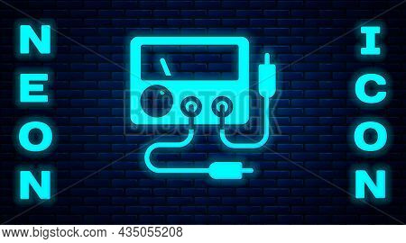 Glowing Neon Ampere Meter, Multimeter, Voltmeter Icon Isolated On Brick Wall Background. Instruments