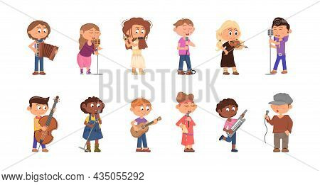 Child Musicians. Kids With Microphone, Cartoon Singer And Musician. Children Play On Musical Instrum