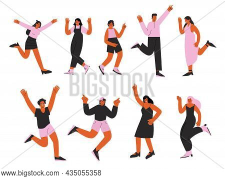 Happy Dancing Characters. Happiness Celebrating, Cheerful Free Young Girl. Jumper Hipster, Freedom P