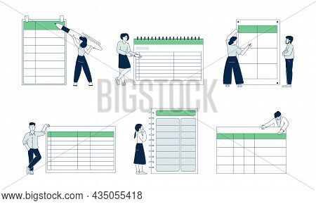People With Planners. Business Planner Blank Template, Woman And Task Board. Managers Work Strategy,