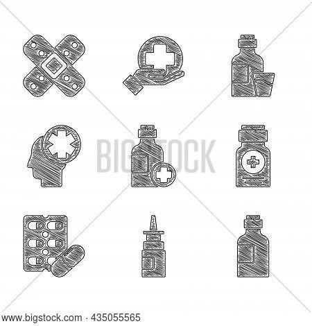 Set Bottle Of Medicine Syrup, Nasal Spray, Medicine Bottle, Pills Blister Pack, Male Head With Hospi