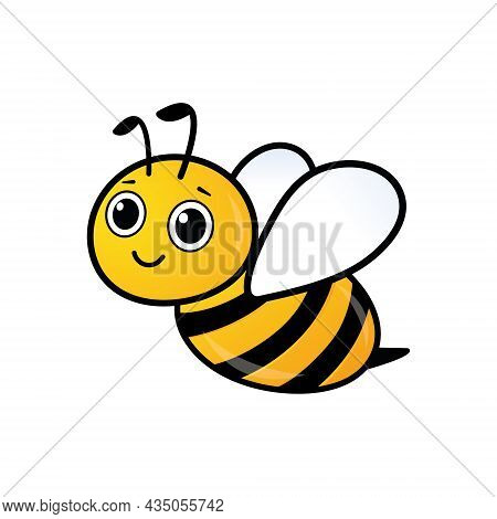Smiling Adorable Bee Character. Lovely Simple Design Of Yellow And Black Flying Bee. Vector Illustra