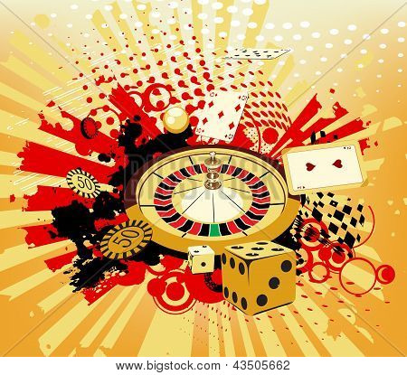 Background With Rays, Roulette And Cards From Casinos