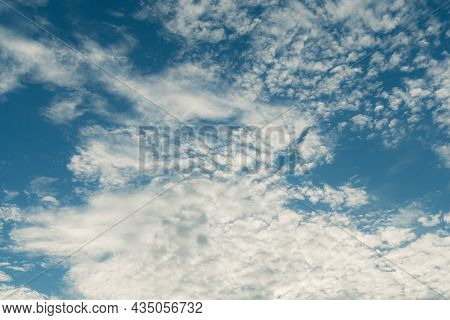 Bright Blue Sky With Fluffy White Clouds, Clean On A Hot Sammer Day, Fresh Blue Sky And Soft White C