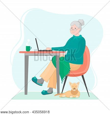 Grandmother At Laptop Work Or Chatting Or Work Onlene.