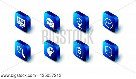 Set Speech Bubble With Text Help, Location Clock, Clock 24 Hours, Shield, Checklist Service, Support