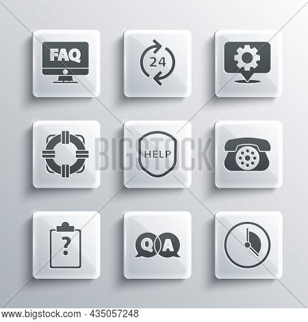 Set Question And Answer, Time Management, Telephone, Shield With Text Help, Clipboard Question Marks