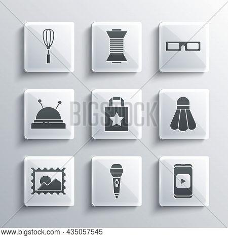 Set Microphone, Online Play Video, Badminton Shuttlecock, Paper Shopping Bag, Postal Stamp, Needle B