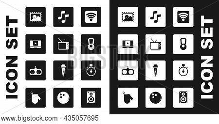 Set Wi-fi Wireless Internet Network, Retro Tv, Online Play Video, Postal Stamp, Kettlebell, Music No