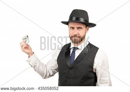 Bribery And Corruption. Payday Concept. Hundred Dollar Tips. Confident Businessman
