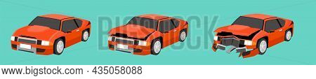 Cartoon Vector Or Illustration. Status Of The Orange Car From Normal Car To The Car Was Slightly Dam