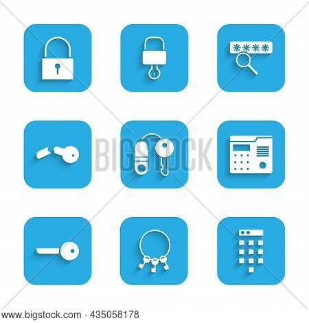 Set House With Key, Bunch Of Keys, Password Protection, Intercom System, Key, Broken, And Lock Icon.