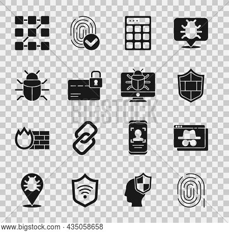 Set Fingerprint, Browser Incognito Window, Shield With Brick Wall, Password Protection, Credit Card