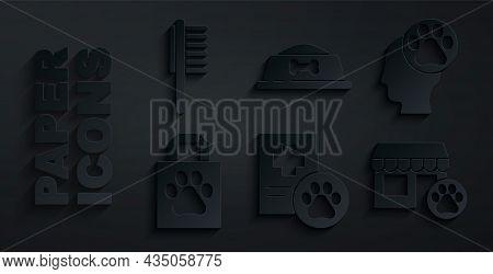 Set Clinical Record Pet, Human With Animals Footprint, Shopping Bag, Veterinary Hospital, Pet Food B