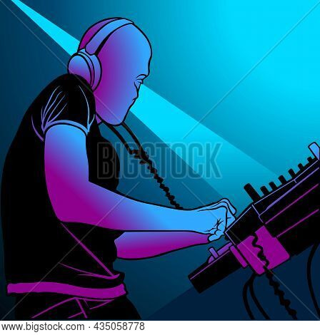 Disc Jockey Mixing A Record Music In A Club - Background Illustration, Vector