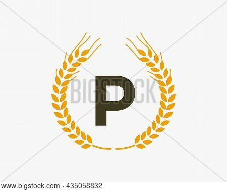 Agriculture Wheat Logo On P Letter. Letter P Agriculture Logo Design Template, Food, Healthy Nutriti
