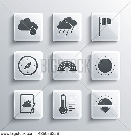 Set Meteorology Thermometer, Sunset, Rainbow, Weather Forecast, Compass, Cloud With Rain And Cone Wi