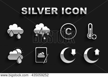 Set Weather Forecast, Meteorology Thermometer, Moon, Cloud With Rain And Sun, Celsius, And Lightning