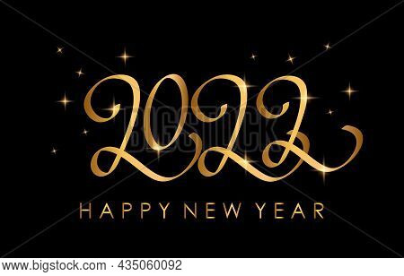 Happy New Year 2022 Greeting Card With Golden Lettering. Handwritten Calligraphy Template For Printi