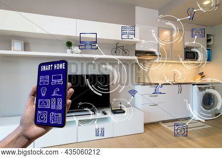 Smart Home And Augmented Reality Technology Concept, Hand Holding Smart Phone Presenting The Smart H