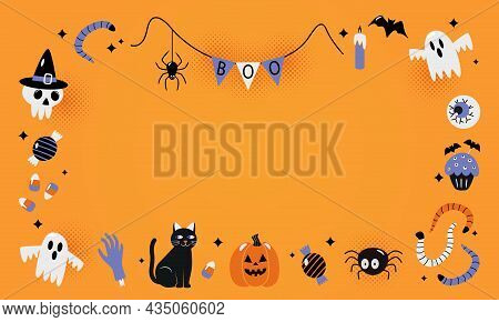 Happy Halloween Banner Or Party Invitation Background With Jack Lamp, Skull, Black Cat, Worms, Spide