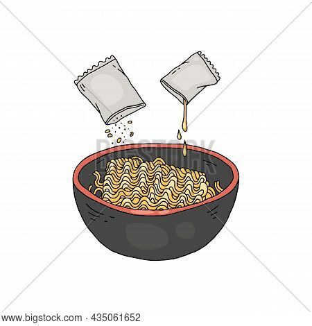 Step Of Adding To Instant Noodles, Sketch Vector Illustration Isolated.