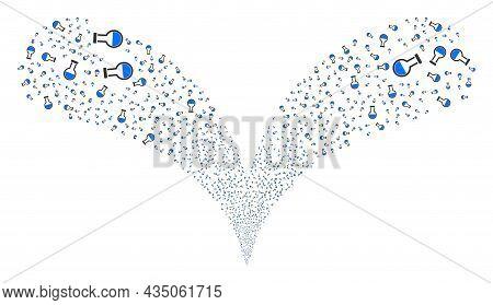 Analysis Flask Twice Fireworks Stream. Analysis Flask Exploding Twice Fountain. Object Fountain Is M