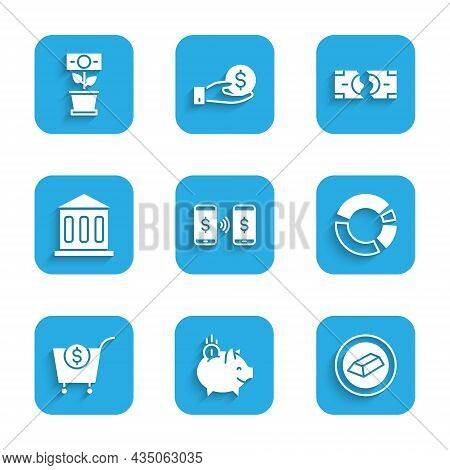 Set Money Payment Transfer, Piggy Bank With Coin, Gold Bars, Pie Chart Infographic, Shopping Cart An