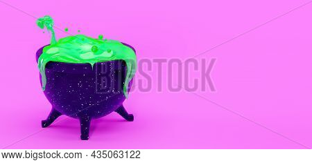 Witch's Cauldron With Green Liquid, Isolated On A Pink Background, 3d Render. Design Decor For A Hap