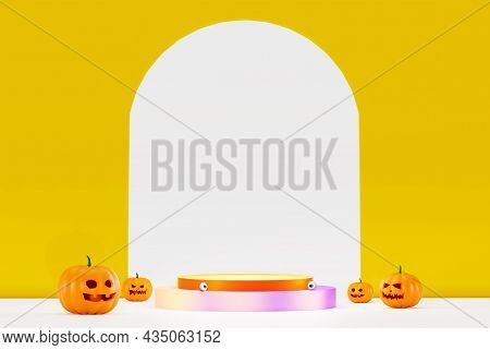 Pumpkins Standing In A Row. Big And Small Funny Pumpkins, 3d Rendering. Pumpkin For Halloween With A