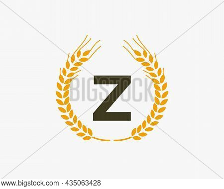 Agriculture Wheat Logo On Z Letter. Letter Z Agriculture Logo Design Template, Food, Healthy Nutriti