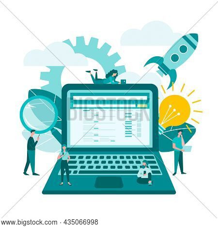 Internet Business Startup, Creating Ideas, Social Media Support Start Up Teamwork On A Startup Lapto