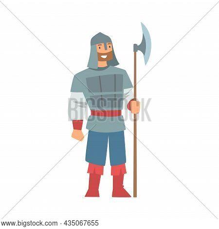 Slav Or Slavonian Man Bogatyr Character In Harness With Hatchet Vector Illustration