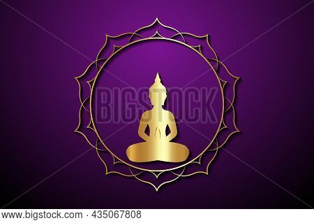 Gold Buddha Silhouette In Lotus Position, Sacred Lotus Round Logo Template. Buddhism Esoteric Motifs
