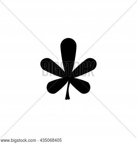 Five Leaf Clover, Lucky Irish Plant. Flat Vector Icon Illustration. Simple Black Symbol On White Bac