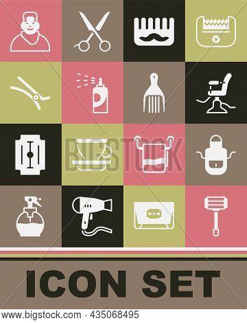 Set Shaving Razor, Barber Apron, Barbershop Chair, Hairbrush, Spray Can For Hairspray, Clip, Client