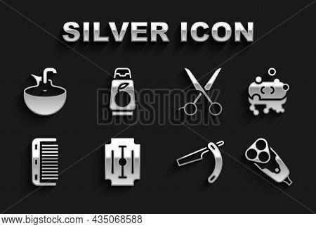 Set Blade Razor, Bar Of Soap With Foam, Electric Blade, Straight, Hairbrush, Scissors Hairdresser, W