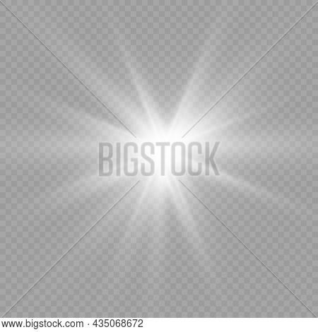 White Glowing Light Burst, Sun Rays, Star.