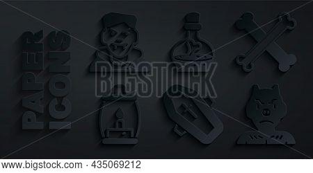 Set Coffin With Cross, Crossed Bones, Camping Lantern, Krampus, Heck, Bottle Potion And Vampire Icon