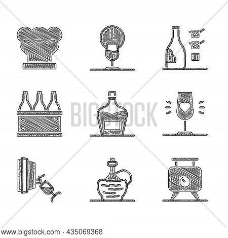 Set Old Bottle Of Wine, Wine Italian Fiasco, Fermentation Grapes, Glass, Tasting, Degustation, Bottl