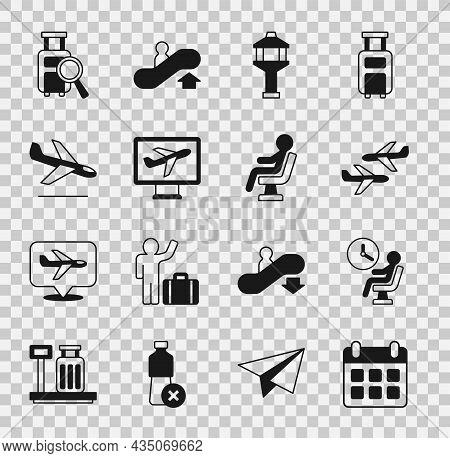 Set Calendar And Airplane, Human Waiting In Airport Terminal, Plane, Airport Control Tower, Landing,