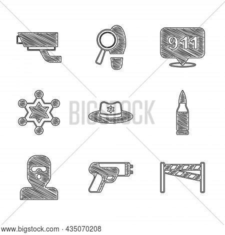Set Sheriff Hat With Badge, Police Electric Shocker, Crime Scene, Bullet, Thief Mask, Hexagram Sheri