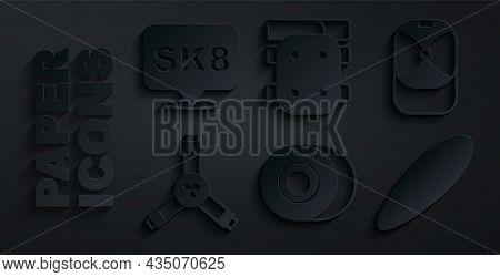Set Skateboard Wheel, Baseball Cap, Y-tool, Longboard Or Skateboard, Knee Pads And Icon. Vector