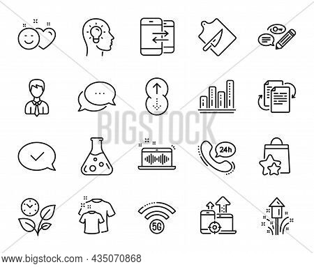 Vector Set Of Phone Communication, Smile And Fireworks Line Icons Set. 5g Wifi, Bureaucracy And Seo