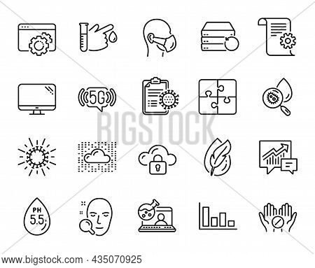Vector Set Of 5g Wifi, Face Search And Cloud Protection Line Icons Set. Histogram, Cloud System And