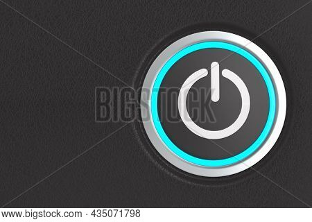 push button with sign power on dark background. 3D illustration