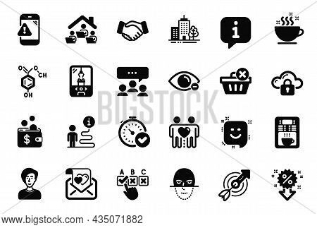 Vector Set Of Business Icons Related To Friends Couple, Coffee Cup And Chemical Formula Icons. Warni