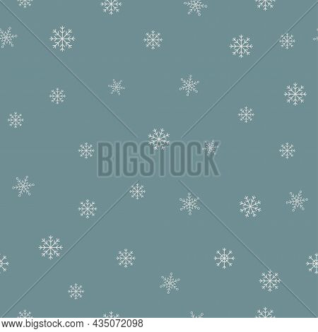 Winter Blue Background With Snowflakes Seamless Pattern. White Snowflakes On Blue Background. Vector