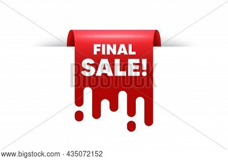 Final Sale Text. Red Ribbon Tag Banner. Special Offer Price Sign. Advertising Discounts Symbol. Fina