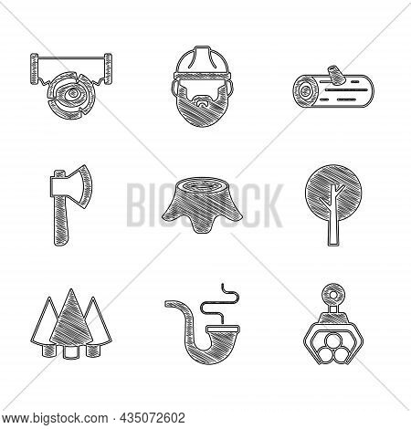 Set Tree Stump, Smoking Pipe, Grapple Crane Grabbed A Log, Christmas Tree, Wooden Axe, Logs And Two-